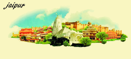JAIPUR (India) vector panoramic water color illustration Stock Illustratie