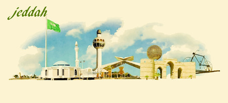JEDDAH city panoramic vector water color illustration