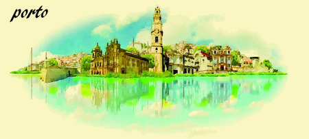 water  panoramic: PORTO vector panoramic water color illustration