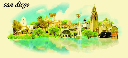 san diego: SAN DIEGO vector panoramic water color illustration Illustration