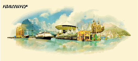 vancouver: VANCOUVER city water color panoramic vector illustration Illustration