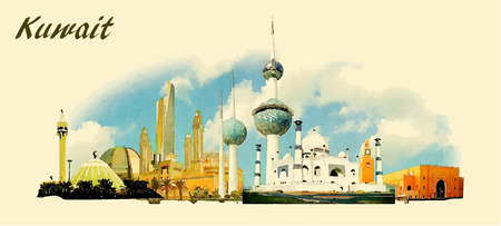 vector panoramic water color  illustration of KUWAIT city