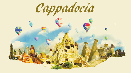 vector watercolor panoramic CAPPADOCIA illustration