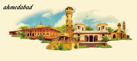 AHMEDABAD stad aquarel panoramisch vector illustratie Stock Illustratie