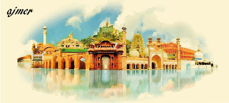 din: AJMER city water color panoramic vector illustration