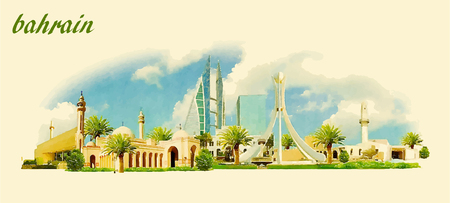 water  panoramic: BAHRAIN city panoramic vector water color illustration