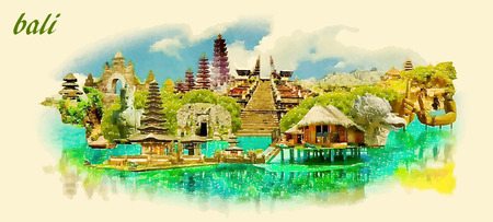 BALI city panoramic vector water color illustration