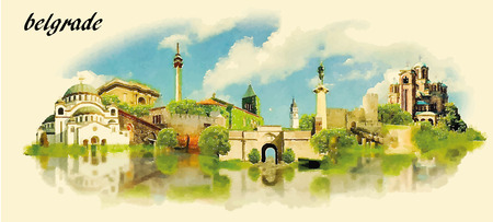 famous painting: BELGRADE city water color panoramic vector illustration Illustration