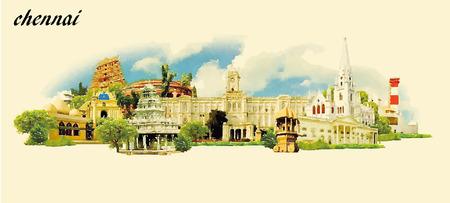 CHENNAI stad aquarel panoramisch vector illustratie Stock Illustratie