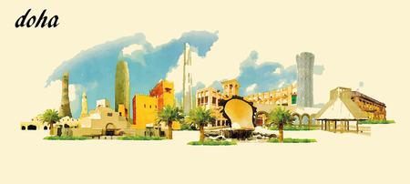 DOHA stad panoramisch vector water kleur afbeelding Stock Illustratie
