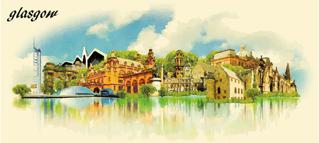water  panoramic: GLASGOW city water color panoramic vector illustration