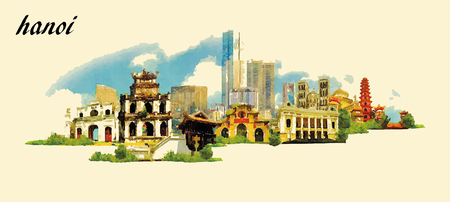 HANOI stad panoramisch vector water kleur afbeelding Stock Illustratie
