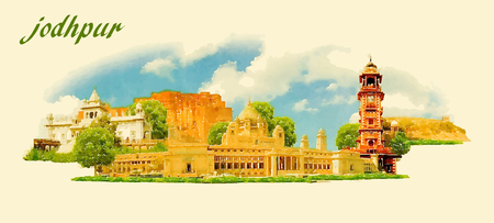 JODHPUR city panoramic vector water color illustration