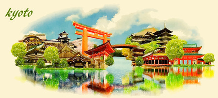 KYOTO city panoramic vector water color illustration