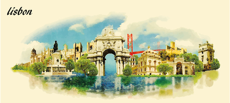 lisbon: LISBON city water color panoramic vector illustration Illustration