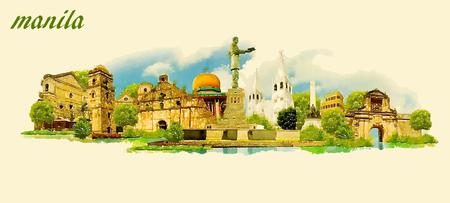마닐라 도시 파노라마 벡터 물 컬러 그림