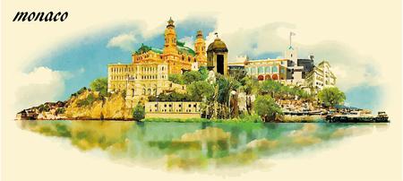 MONACO stad aquarel panoramisch vector illustratie