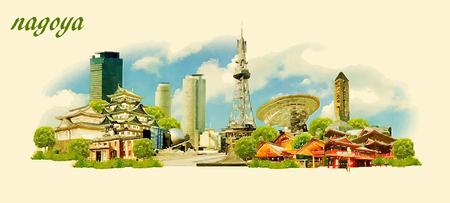 NAGOYA city panoramic vector water color illustration