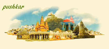 water color: PUSHKAR city panoramic vector water color illustration