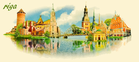 RIGA city panoramic vector water color illustration Illustration