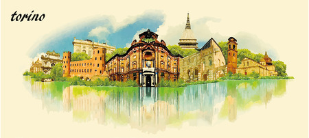 turin: TORINO city water color panoramic vector illustration