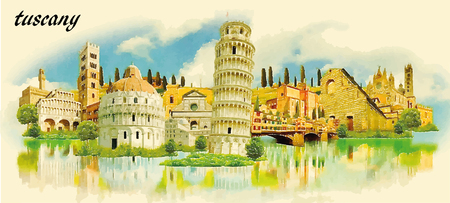 TUSCANY city water color panoramic vector illustration