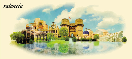 panoramic beach: VALENCIA city water color panoramic vector illustration