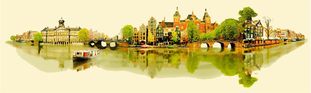 amsterdam canal: vector water color illustration panoramic amsterdam view