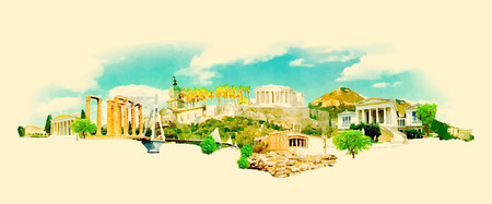 vector watercolor athens city illustration