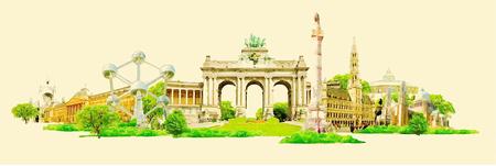 vector aquarel BRUSSEL stad illustratie