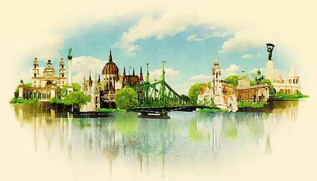 Ejemplo de la acuarela vista BUDAPEST Foto de archivo - 57898526