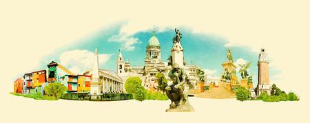 buenos: vector watercolor BUENOS AIRES city illustration