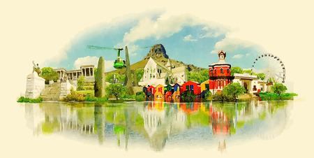 vector watercolor CAPE TOWN city illustration  イラスト・ベクター素材