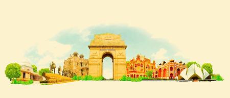 vector watercolor DELHI city illustration Vettoriali