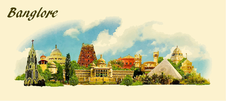 architecture and buildings: vector panoramic water color  illustration of BANGALORE city