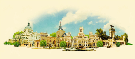 madrid spain: vector watercolor MADRID city illustration Illustration