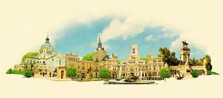 vector watercolor MADRID city illustration Vettoriali
