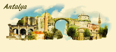 water  panoramic: vector panoramic water color  illustration of ANTALYA city