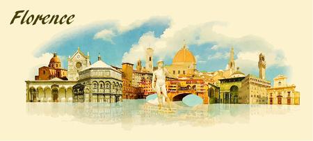 Ilustración en color panorámica vectores de agua de la ciudad de Florencia Foto de archivo - 57898559