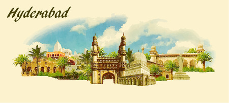 vector panoramic water color  illustration of HYDERABAD city Ilustração