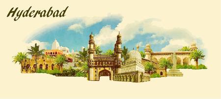 vector panoramische water kleur illustratie van HYDERABAD stad