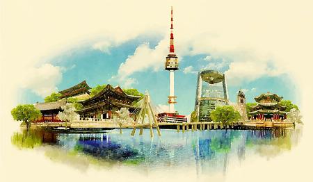Vector ilustración de la acuarela de ciudad de Seúl