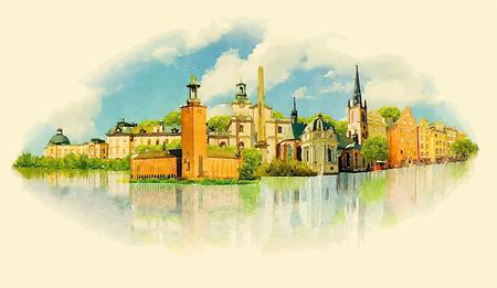 vector watercolor STOCKHOLM city illustration Фото со стока - 57937351