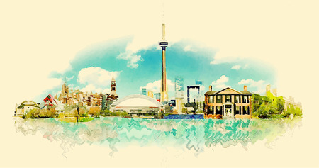 ontario: vector watercolor TORONTO city illustration Illustration