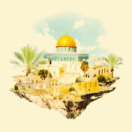 JERUSALEM surroundings watercolor illustration Stok Fotoğraf - 73337512