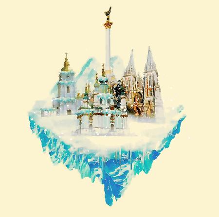 KIEV city watercolor illustration