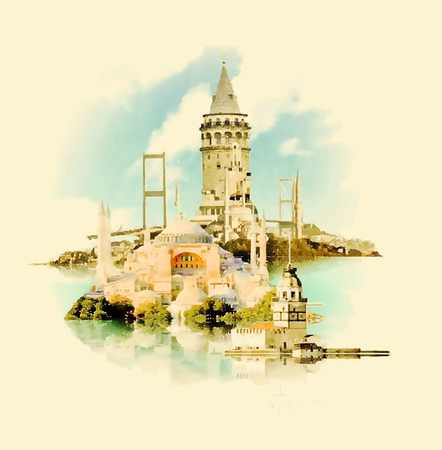 byzantine: ISTANBUL city watercolor illustration