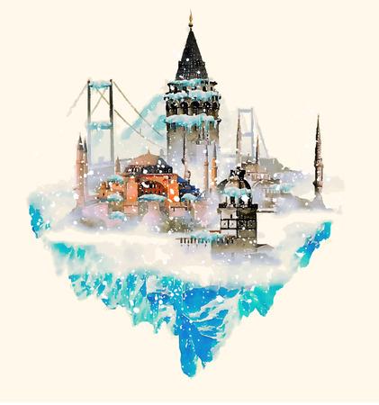 ISTANBUL městské ilustrace akvarelu