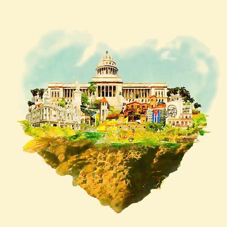 WaterColor CUBE city illustration