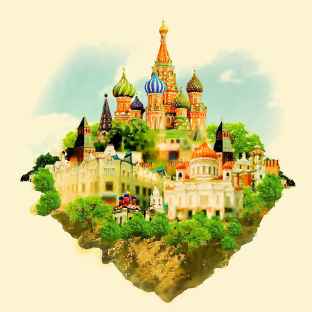 MOSCOW surroundings watercolor illustration